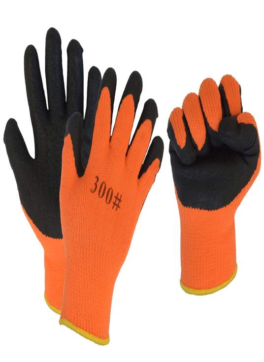 Перчатки акриловые утепленные с вспененным латексным покрытием