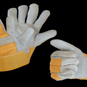 Перчатки спилковые пятипалые комбинированные, серые